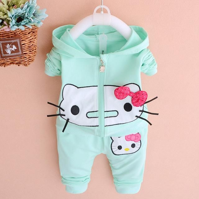 2017 Spring new fashion girls clothing set with hello kitty print lovely baby clothes A192