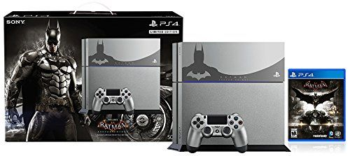 The Limited Edition Batman: Arkham Knight PlayStation 4 Bundle is the perfect addition to any Batcave, featuring a sleek PlayStation 4 system in Steel Gray, custom Batman faceplate, and the Batman: Arkham Knight game.