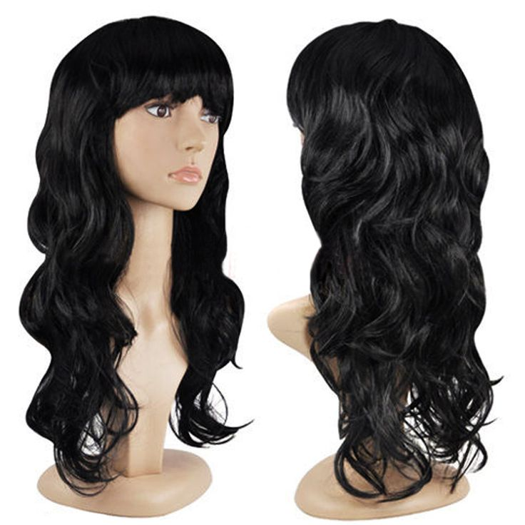 Black Fashion Parrucca di Modo delle Donne Dei Capelli Dell'onda Parrucche Con La Frangetta Nera Capelli Lunghi Parrucca HB88