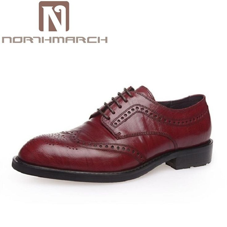 NORTHMARCH New 2018 Luxury Leather Brogue Mens Flats Shoes Casual British  Style Men Oxfords Vintage Brand b8308500fa1a