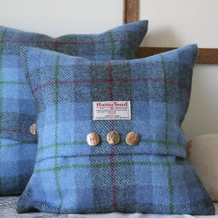 bluebell wood harris tweed cushion by the tweed workshop at mansefield studios | notonthehighstreet.com