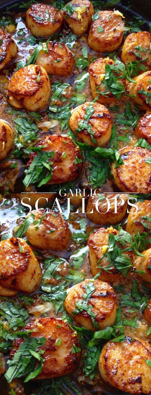 Healthy garlic scallops in clarified butter ghee | CiaoFlorentina.com