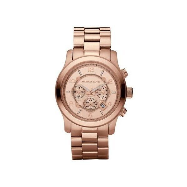 Michael Kors Runway Oversized Rose Gold-Tone Stainless Steel Watch ($275) ❤ liked on Polyvore featuring jewelry, watches, oversized watches, michael kors jewelry, stainless steel wrist watch, oversized wrist watch and rose gold tone jewelry