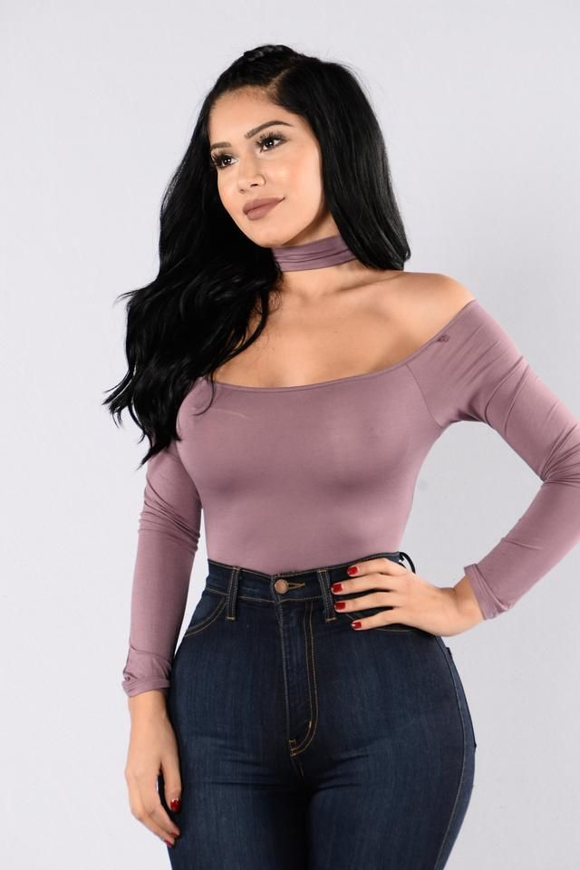 - Available in Lavendar, and Olive - Choker - Off the Shoulder - Long Sleeves - Bikini Bottom - Snap Closure - Bosysuits FINAL SALE - 95% Rayon, 5% Spandex