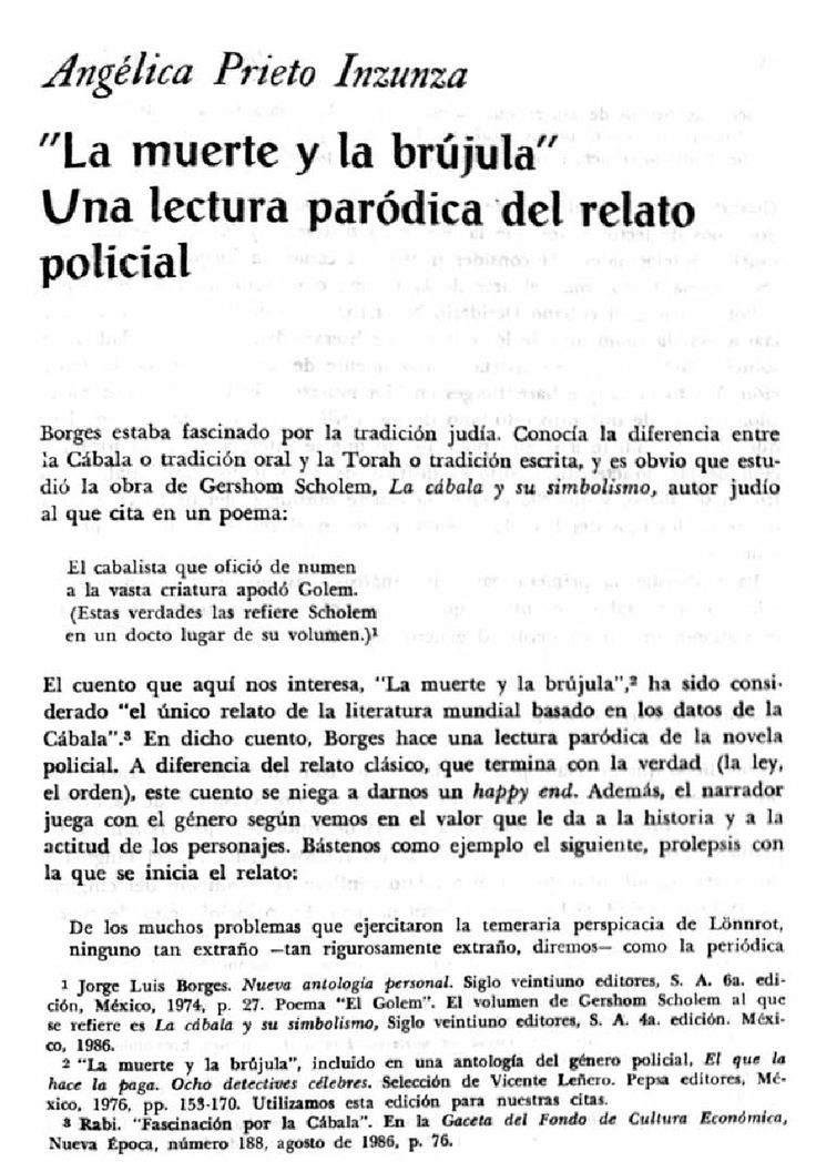 """LA MUERTE I LA BRÚJULA"" UNA LECTURA PARÓDICA DEL RELATO POLICIAL"