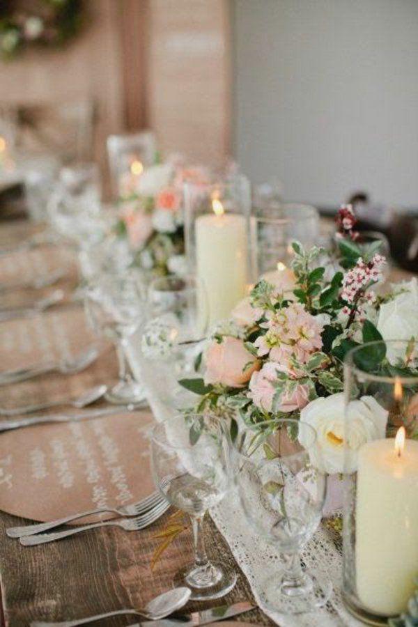 Hochzeitstischdeko Stumpenkerzen Und Rosen Weddingdecoration My