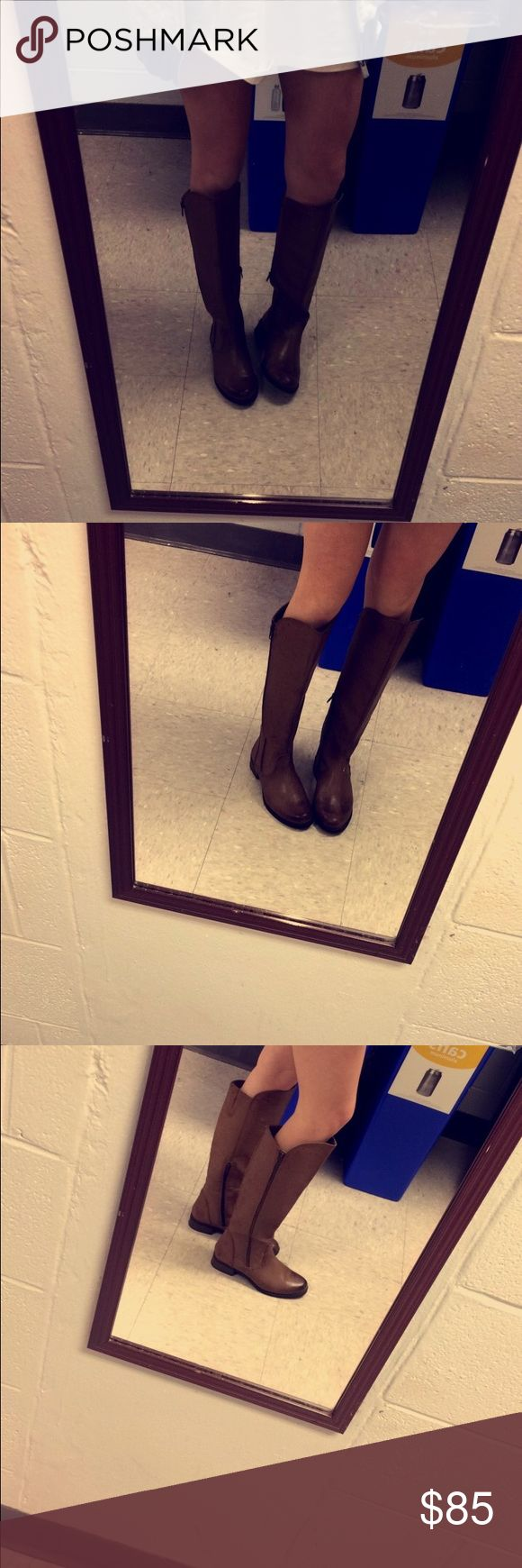 Brown leather Knee high boots Never worn CASSI boots Shoes