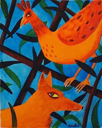 "Graham Knuttel ""The Fox & The Hen"" #irishart #art #painting  #GrahamKnuttel #DukeStreetGallery"
