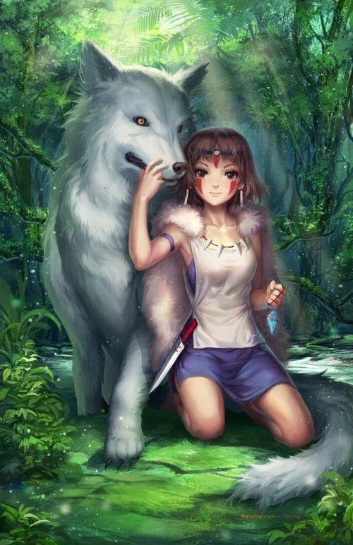 grafika anime, girl, and wolf