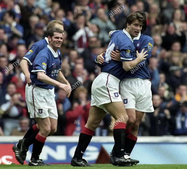 Rangers 2 St Johnstone 1 in March 1998 at Ibrox. Marco Negri is congratulated after scoring his 2nd goal for victory #SPL