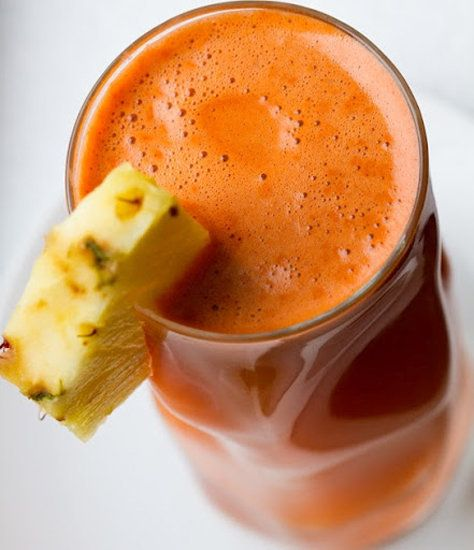 This tasty pineapple-celery-carrot-ginger combo is a healthy smoothie filled with flavor.