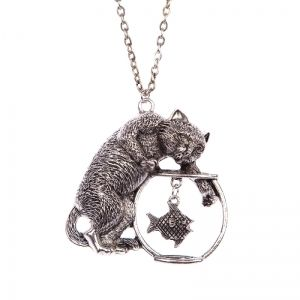Playful cat and fish bowl necklace