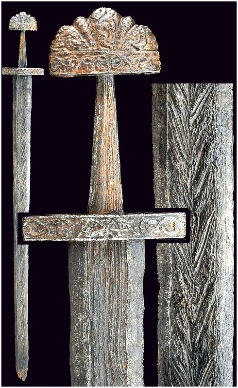 Viking age / Typical Viking sword with pattern welded blade / Denmark