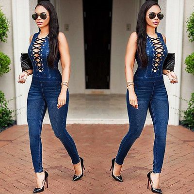 Ladies Sleeveless Denim Jumpsuit Pants Women's Bodycon Playsuit Clubwear Jeans in Clothing, Shoes & Accessories, Women's Clothing, Jumpsuits & Rompers   eBay