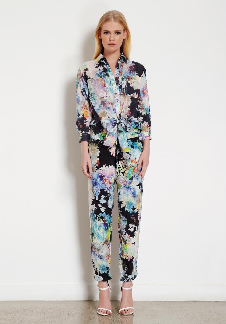 Villa Amour silk shirt & Garden Daydream floral dream print silk pants