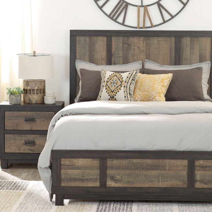Give your bedroom industrial vibes with a dry-finished headboard and footboard. The two-toned wood adds a unique feel, all while keeping the room relaxing and light.