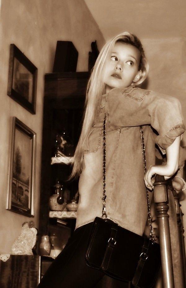 outfit camicia in denim leggings di pelle Teresa Morone