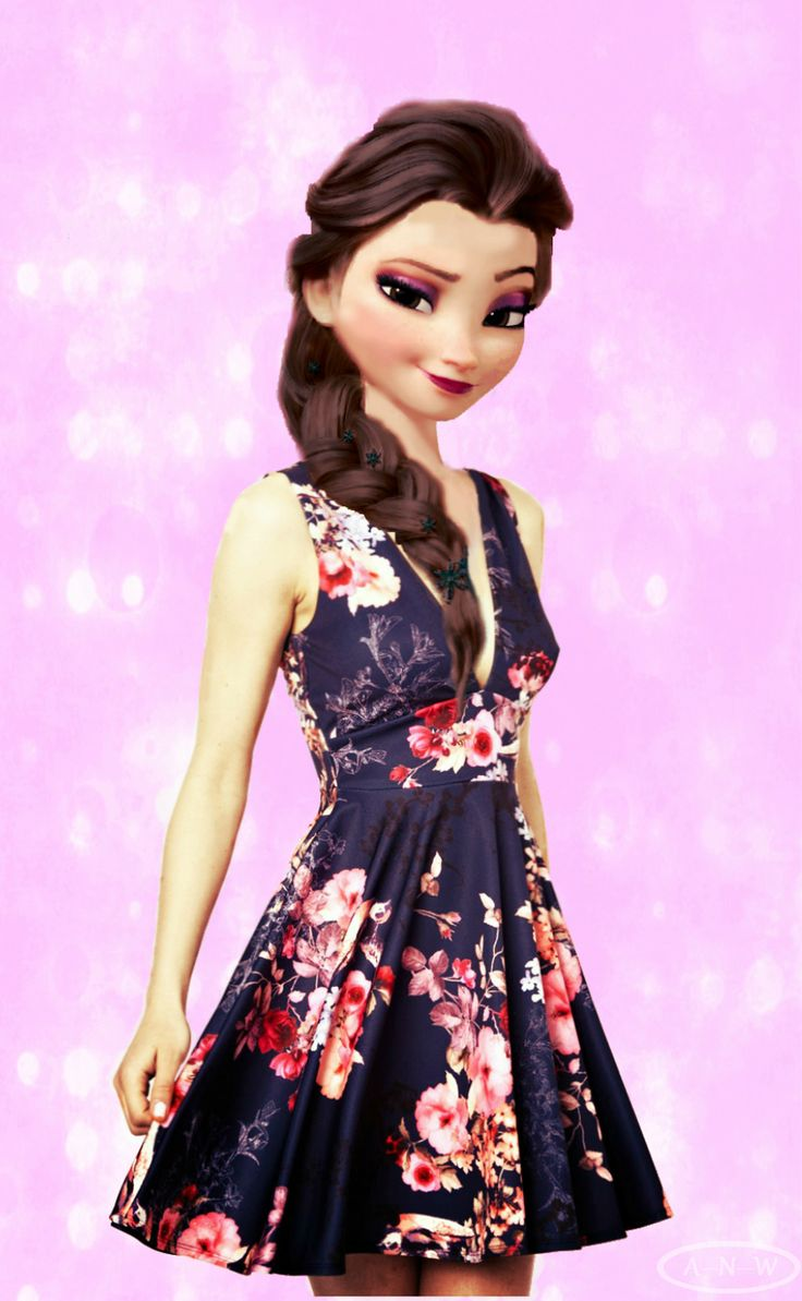 Modern princess disney modern disney characters floral coloured
