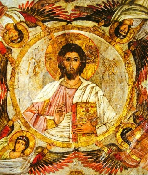 Christ Pantokrator w/ Holy Archangels (from El Muallaqa, Cairo) Byzantine 13th century