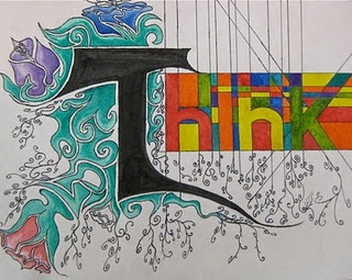 Think: Choose one powerful word to illustrate... Could be a great sketchbook or design project for beginning drawing...