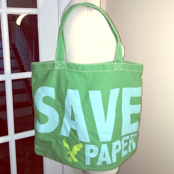 American Eagle Outfitters Large Recycle Tote Title stays it all Save Paper on one side and Give Love on the other on this bee green cotton tote bag. Use for school or for groceries and look great doing it !! American Eagle Outfitters Bags Totes