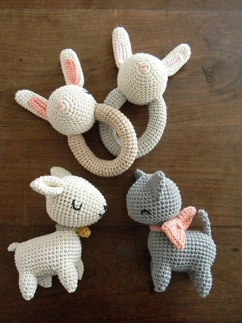 Kitty, lamb and bunnies for baby.