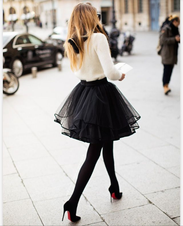 Nothing so feminine as CBs with a ballerina ruffled skirt in the big city. #christianlouboutins