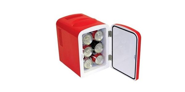 MAN CAVE - BAUSVAULT Micro Cool Mini Fridge  You are looking for:  The perfect desktop fridge A very portable device to carry 6 cans of soda or beer A practical way to make sure your thirst stays quenched $49.14