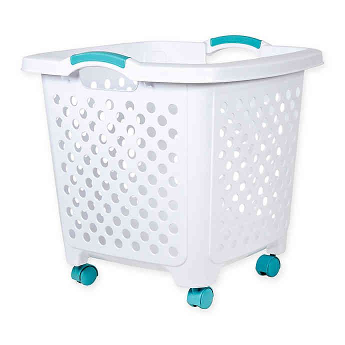 I Need 2 Or 3 Of These Home Logic 1 75 Bu Rolling Hamper In White Teal Bed Bath Beyond Bed Bath And Beyond Diy Laundry Hamper