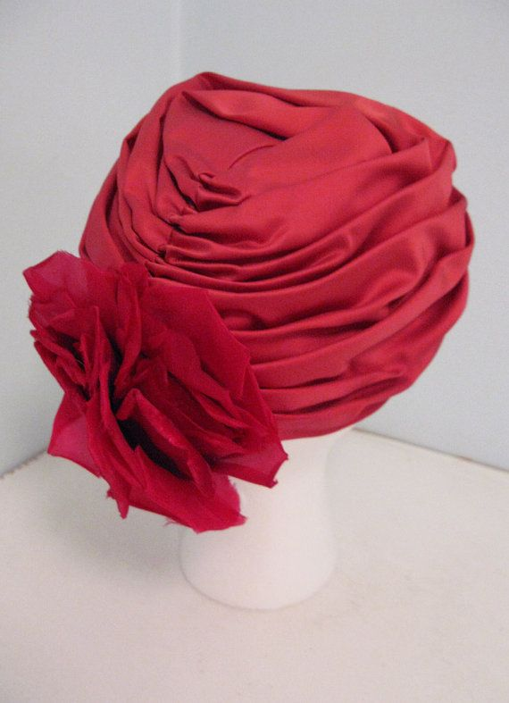 vintage 60's rosy pink shirred turban hat