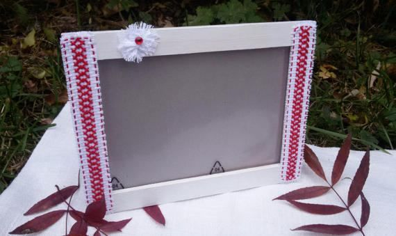 Cross stitch picture frame white wooden photo frame by Rocreanique on Etsy