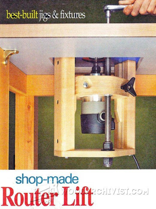Router Table Lift Plans - Router Tips, Jigs and Fixtures | WoodArchivist.com