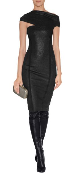 Make a statement when you waltz into your next cocktail party in this wet-look jersey-blend dress by Donna Karan #Stylebop
