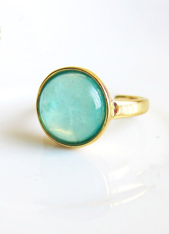 Turquoise Blue Mint Green Ring Aqua Moon Stone Inspired Modern Jewelry Classy Minimal Clean Gold Plated Bright White Faux Gem Ring