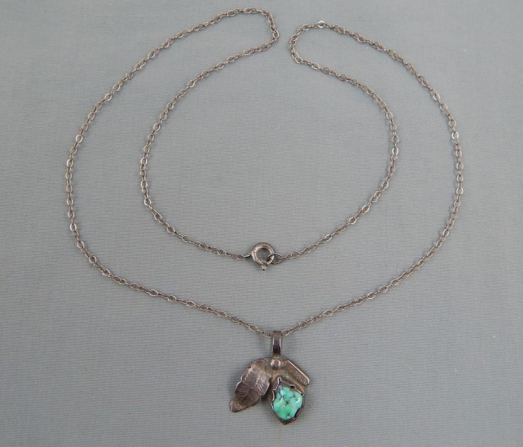 Vintage Navajo Sterling Black Widow Turquoise Squash Blossom Pendant Necklace