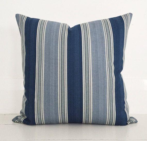 Hampton blue stripe   natural european linen cushion cover   designer  cushion 50 x 50 cm. 15 Must see Cushion Cover Designs Pins   Cushion covers  Diy