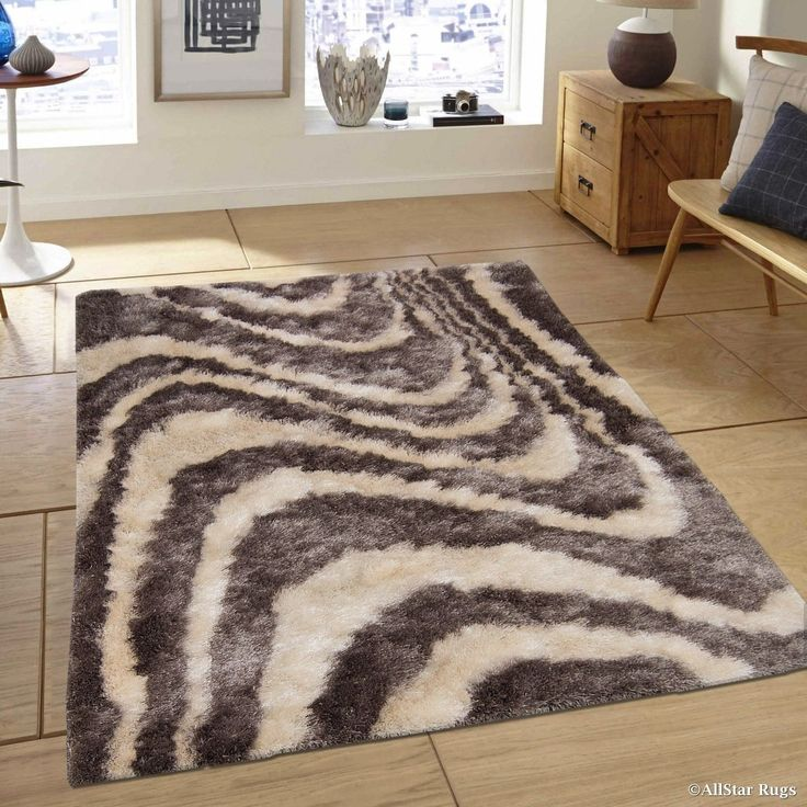 "Allstar Titanium Modern Stripe Design Thick High Pile Rug (4' 11"" X 6' 11""), Grey, Size 5' x 7' (Polyester, Abstract)"