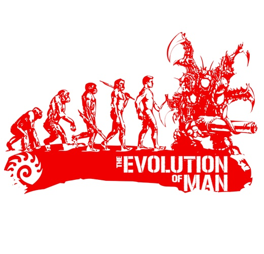 """Evolution of Man"" StarCraft Shirt. Red on White. Logo Close Up. Available In Over 100 Colors at swagling.com"
