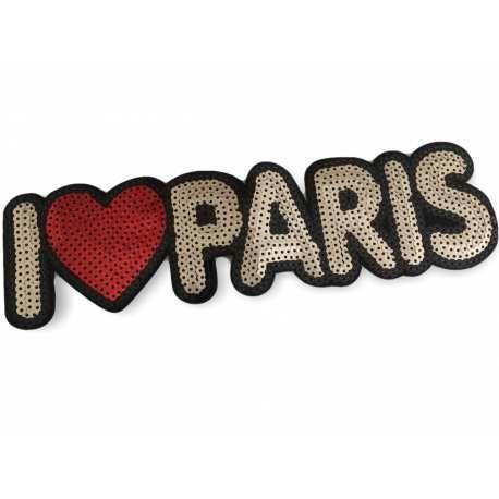XL PAILLETTEN I LOVE PATCH PARIS, 25CM, AUFBÜGLER, AUFNÄHER – (#Aufnäher mit Pailletten C65)… patch, #glamour, #pailletten, #glam, #edel, #abendmode, #groß, #rücken, #brust, #applikation, #applikationen, #aufnäher, #xl, #patches, #klassisch, #stylisch