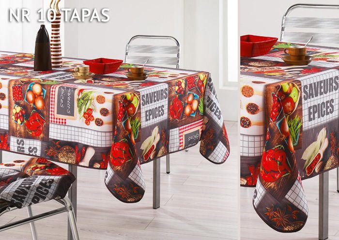 Czerwone papryczki chilli obrus brązowy dekoracyjny na stół