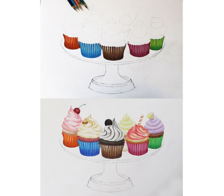 The cupcakes drawing process. Color pencils on canson paper. A3. August, 2014.