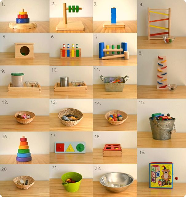 This is a great general overview of toys/ lessons that can be demonstrated to kids around 18 months and then left on the shelf for them to play with as they want.