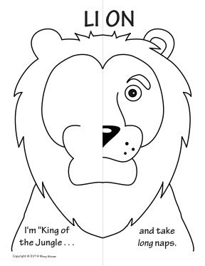 Jungle Animals Symmetry Activity Coloring Pages. Math with Craft-Creative Writing option.