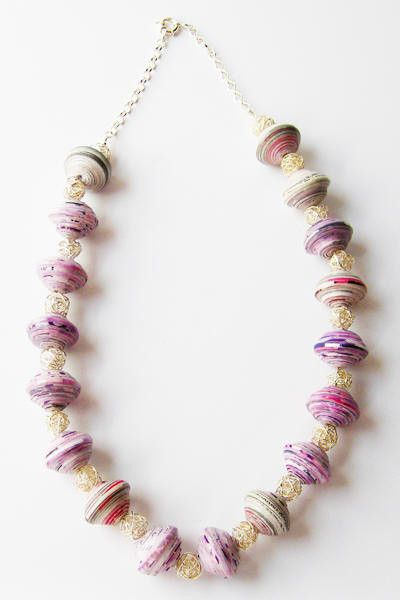 Dalasini Mombasa Sterling Silver and Paper Bead Necklace Top