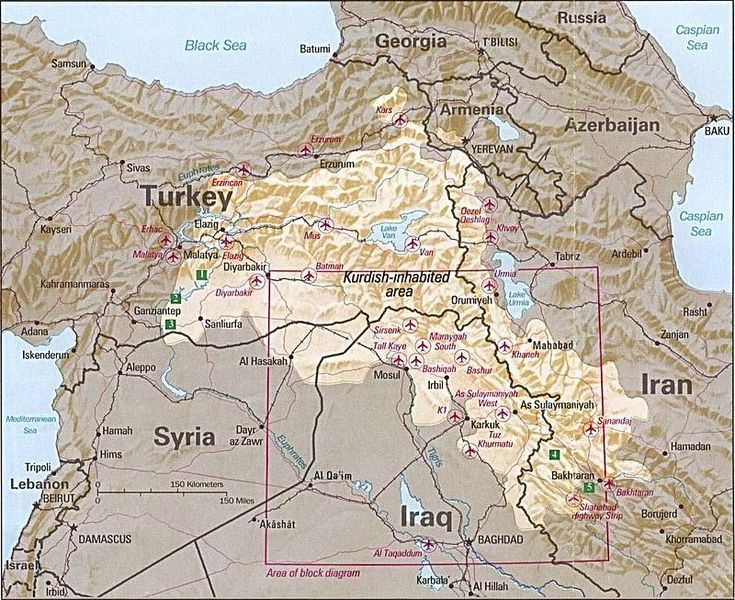 Kurdish-inhabited area by CIA (1992) - Koerdistan - Wikipedia
