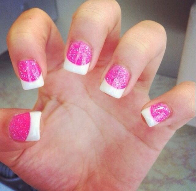 pink sparkles white tip nailssss nails french acrylic