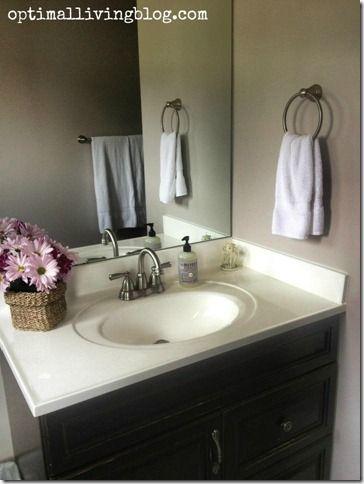 Guest bathroom, dark grey or black cabinets with light grey walls, pretty and neutral