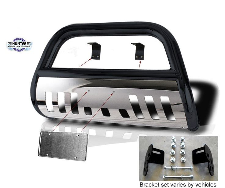 2004-2012 Chevy Colorado Hunter Classic Guard Push Bull Bar in Black w/ SS Skid