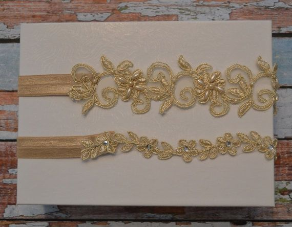 Champagne/Gold Wedding Garter SALE Gold by SpecialTouchBridal