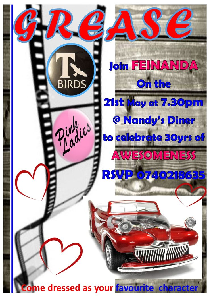 Grease Theme Party Invite
